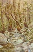 Spring Scenes Pastels Acrylic Prints - Spring Creek Through the Trees Acrylic Print by Barbara Smeaton