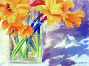 Botanical Pastels Originals - Spring Daffodils by Joan Swanson