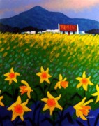 Landscape Greeting Cards Posters - Spring Daffs  Sugar Loaf County Wicklow Poster by John  Nolan