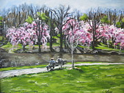 Park Benches Painting Posters - Spring Day in the Park Poster by Christine Rotolo