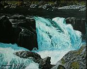 Waterscape Painting Prints - Spring Falls Print by Ron Smothers