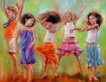 Children Paintings - Spring Fever by Mary Leslie