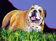 English Bulldog Paintings - Spring Fever by Pat Saunders-White