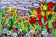 Flowers Glass Art Framed Prints - Spring FLoral Mosaic Framed Print by Liz Shepard