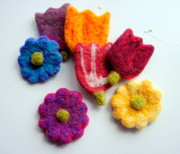 Fun Tapestries - Textiles - Spring Flower Ornaments by Kimberly Simon