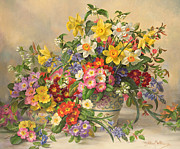 Pool Life Prints - Spring Flowers and Poole Pottery Print by Albert Williams