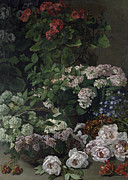 Impressionist Vase Floral Paintings - Spring Flowers by Claude Monet