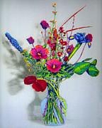 Spring Flowers In Glass Vase Print by Merton Allen