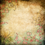 Drawn Mixed Media Prints - Spring Flowers On Grunge Background Print by Anna Abramska