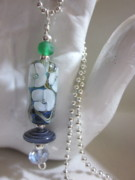 Disc Jewelry - Spring Flowers with Blues and Green Necklace by Janet  Telander