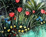 Colorful Floral Gardens Paintings - Spring Garden by Elizabeth Robinette Tyndall