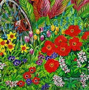 Anemones Paintings - Spring garden by Val Stokes