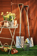 Gardening Tools Posters - Spring Gardening Poster by Christopher and Amanda Elwell