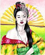 Asian Artist Drawings - Spring Geisha by Scarlett Royal