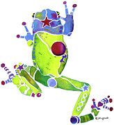 Crazy Painting Posters - Spring Green Frog Poster by Jo Lynch