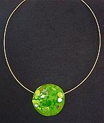 Spring Jewelry - Spring Green Fused Glass Pendant by Cydney Morel-Corton