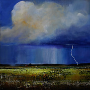 Thunderstorm Painting Framed Prints - Spring Green Pastures  Framed Print by Toni Grote