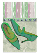 Stilettos Paintings - Spring Green Stripes and Rivets by Elaine Plesser