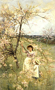 Signed Painting Framed Prints - Spring Framed Print by Henry George Todd
