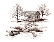 Sepia Ink Drawings - Spring House by Daniel Paul Murphy
