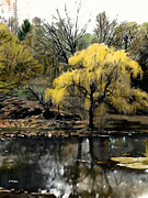 Landscapes Mixed Media - Spring in Central Park NYC by Linda  Parker