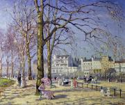Bench Paintings - Spring in Hyde Park by Alice Taite Fanner