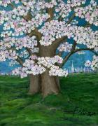 Polish American Painters Paintings - Spring in New York City by Anna Folkartanna Maciejewska-Dyba