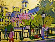 Streetscape Paintings - Spring in Paris by Brian Simons