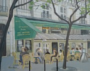 Outdoor Cafe Paintings - Spring in Paris by Veronica Coulston
