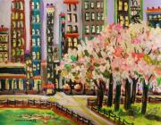 Shops Drawings Prints - Spring in the City Print by John  Williams