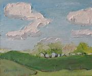 Francois Fournier Paintings - Spring in the Orchard Hatley Quebec Canada by Francois Fournier