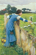 Blue Dress Paintings - Spring by John William Waterhouse