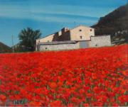 Poppies Field Paintings - Spring by Juan Jose Abenza