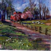 Red School House Paintings - Spring by Kay Geiss
