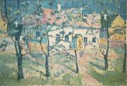 Trees Blossom Paintings - Spring by Kazimir Severinovich Malevich