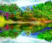 Digital Paintings Landscapes - Spring Lake by David Lane