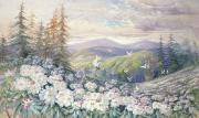 Hills Paintings - Spring Landscape by Marian Ellis Rowan