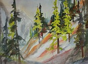 North Cascades Painting Posters - Spring Larch on Slope 01 Poster by Sukey Jacobsen