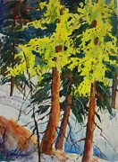 North Cascades Paintings - Spring Larch on Slope 02 by Sukey Jacobsen
