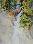 North Cascades Painting Posters - Spring Larch with Waterfall 04 Poster by Sukey Jacobsen