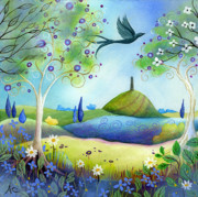 Trees Blossom Paintings - Spring Light by Amanda Clark