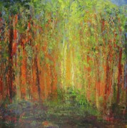 Landscape Framed Prints Mixed Media Framed Prints - Spring Light in the Woods2 Framed Print by Peg Bachenheimer