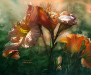 Lily Mixed Media Posters - Spring Lilies Poster by Carol Cavalaris