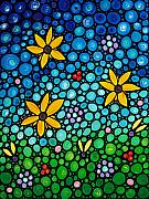 Blue Flowers Paintings - Spring Maidens by Sharon Cummings