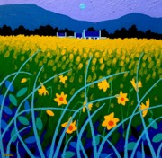 Yellow Leaves Painting Posters - Spring Meadow Poster by John  Nolan