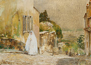 White Dress Posters - Spring Morning at Montmartre Poster by Childe Hassam