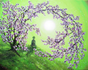 Buddhist Monk Paintings - Spring Morning Meditation by Laura Iverson