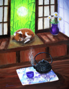 Teapot Paintings - Spring Morning Tea by Laura Iverson