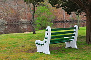 Empty Bench Prints - Spring on the Ponaganset River  Print by Catherine Reusch  Daley