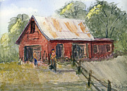 Old Barn Paintings - Spring Planting by Barry Jones